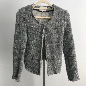 IRO Sveva Gray Cropped Bouclé Jacket Sweater 0 XS